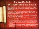 the wycliffe bible nt 1380 entire bible 1382