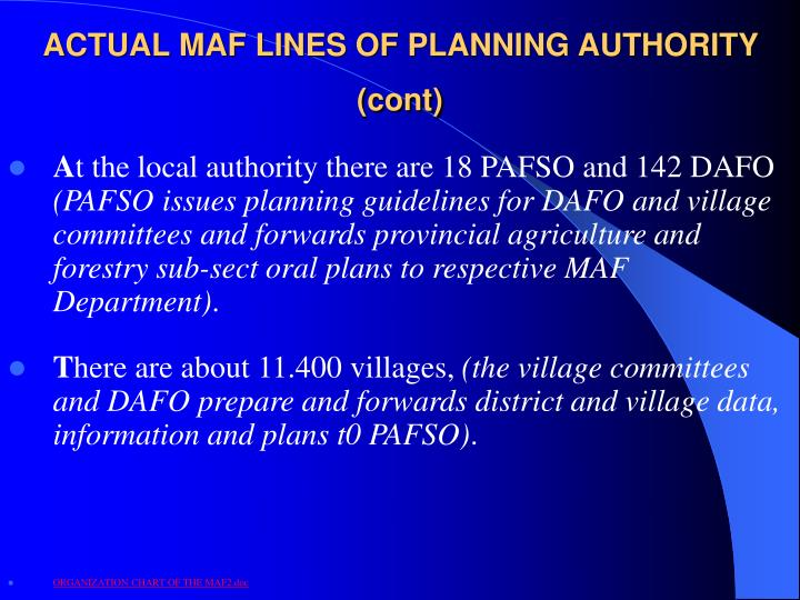 ACTUAL MAF LINES OF PLANNING AUTHORITY (cont)