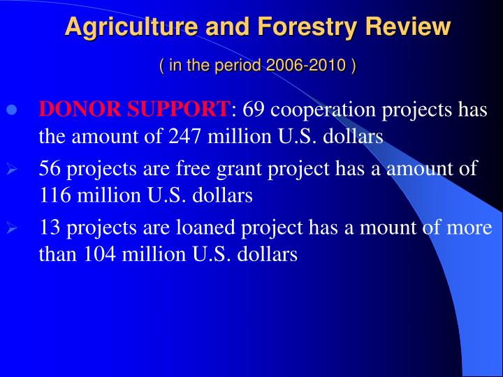 Agriculture and Forestry Review