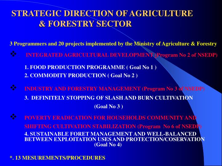 STRATEGIC DIRECTION OF AGRICULTURE & FORESTRY SECTOR