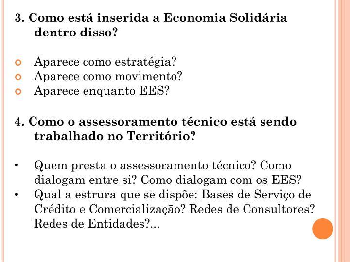 3. Como está inserida a Economia Solidária dentro disso?
