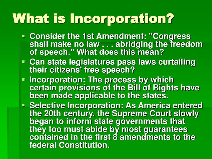 What is incorporation