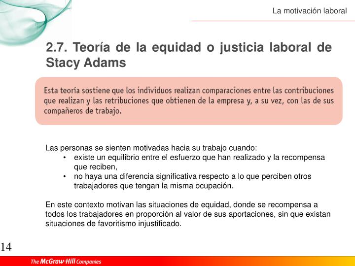 2.7. Teoría de la equidad o justicia laboral de Stacy Adams