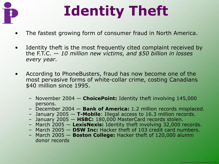 The fastest growing form of consumer fraud in North America.