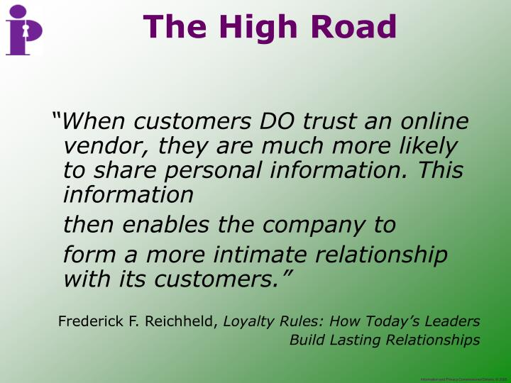 """""""When customers DO trust an online vendor, they are much more likely to share personal information. This information"""
