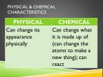 physical chemical characteristics