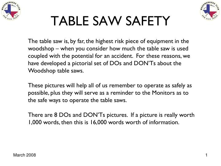 table saw safety n.