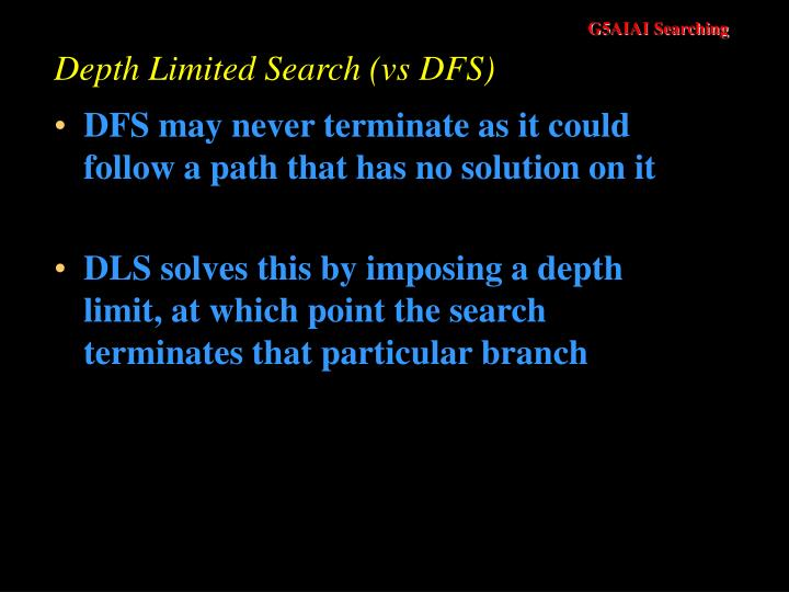 Depth Limited Search (vs DFS)