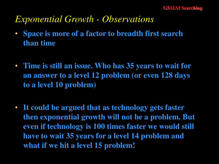 Exponential Growth - Observations