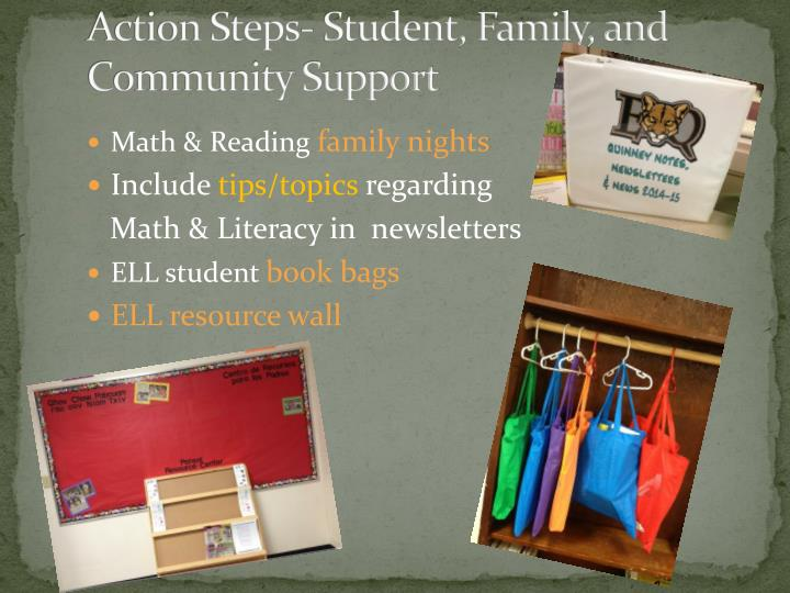 Action Steps- Student, Family, and Community Support