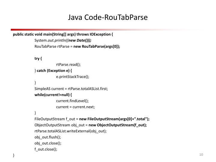 Java Code-RouTabParse