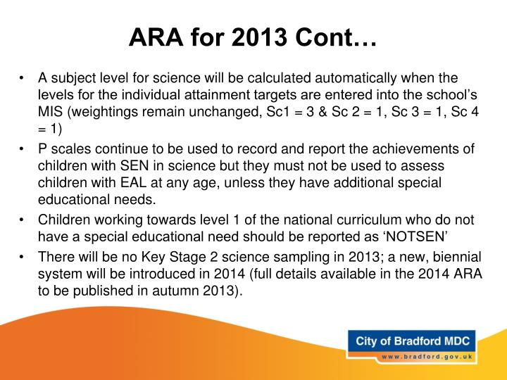 ARA for 2013 Cont…