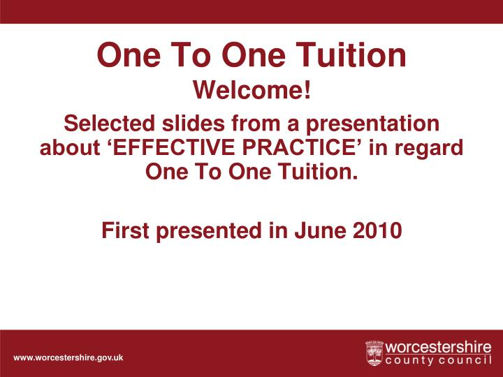 One to one tuition welcome