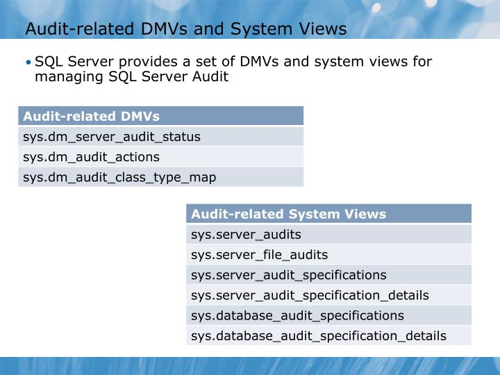 Audit-related DMVs and System Views