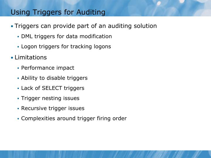 Using Triggers for Auditing