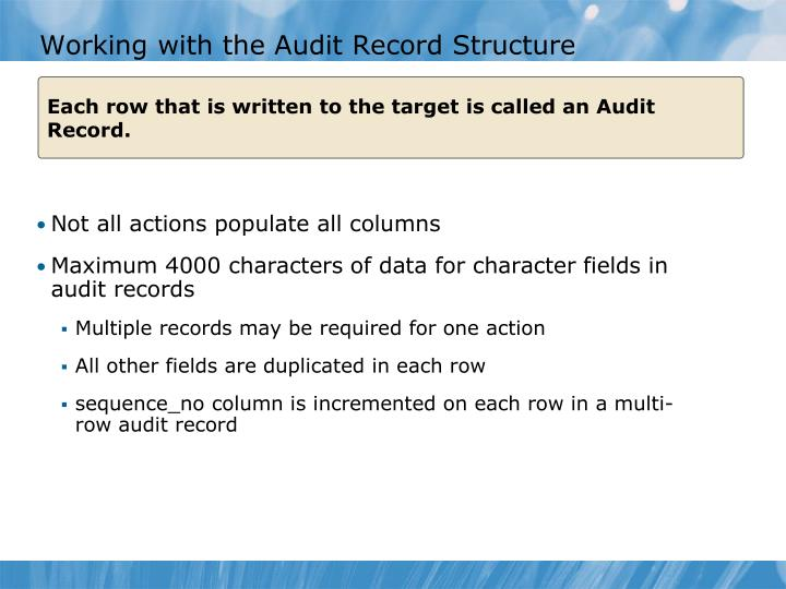 Working with the Audit Record Structure