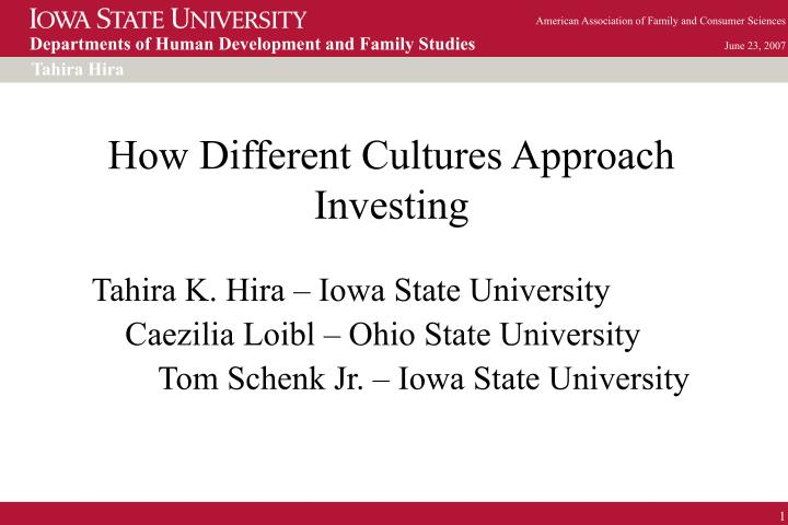 how different cultures approach investing n.