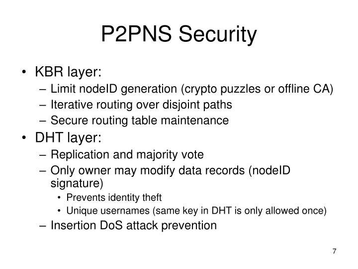 P2PNS Security