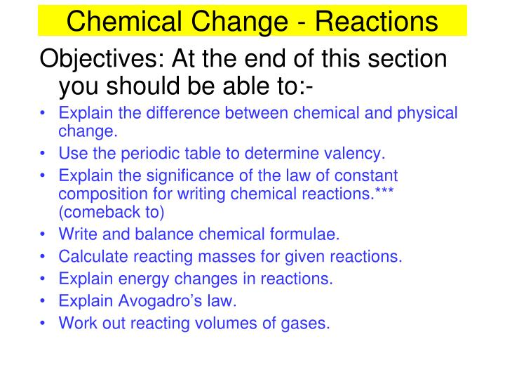 chemical change reactions n.