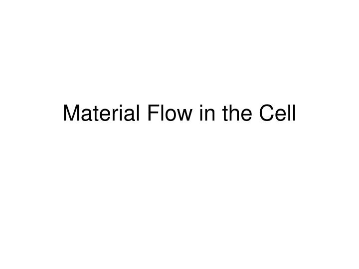 material flow in the cell n.