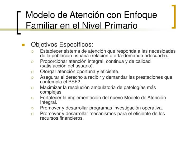 Modelo de Atención con Enfoque Familiar en el Nivel Primario