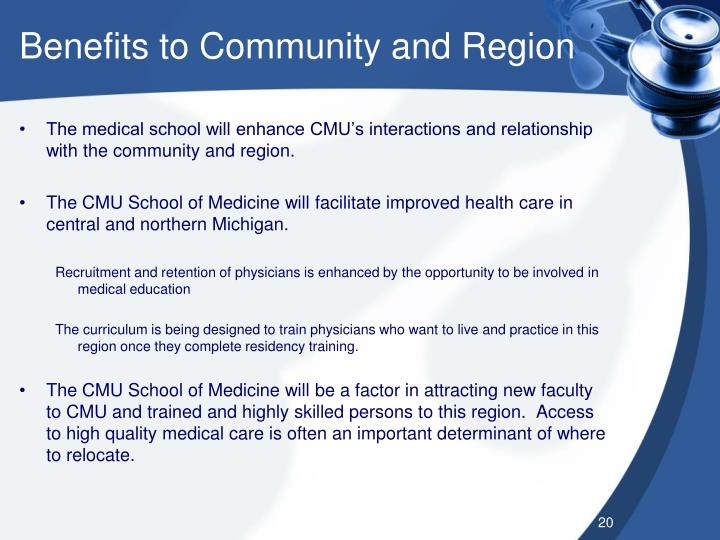 Benefits to Community and Region