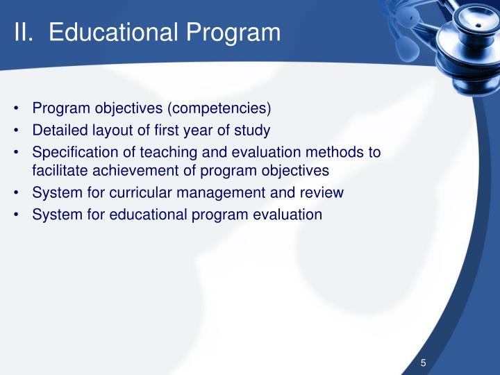II.  Educational Program