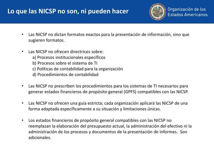 Lo que las NICSP no son, ni pueden hacer
