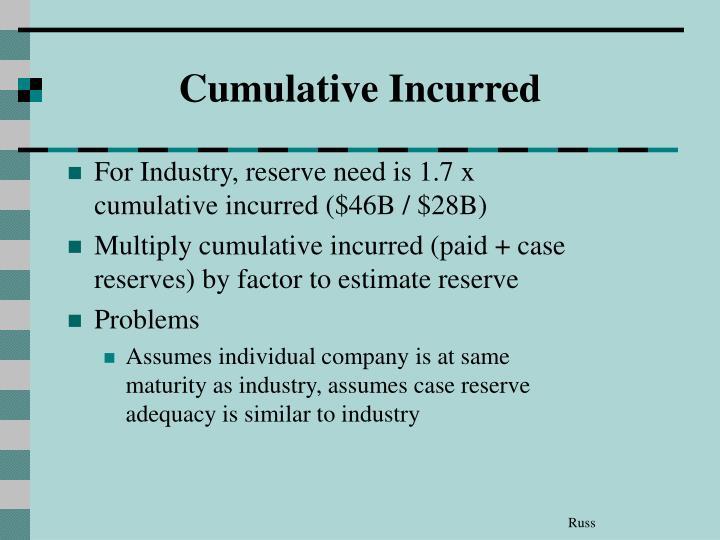 Cumulative Incurred