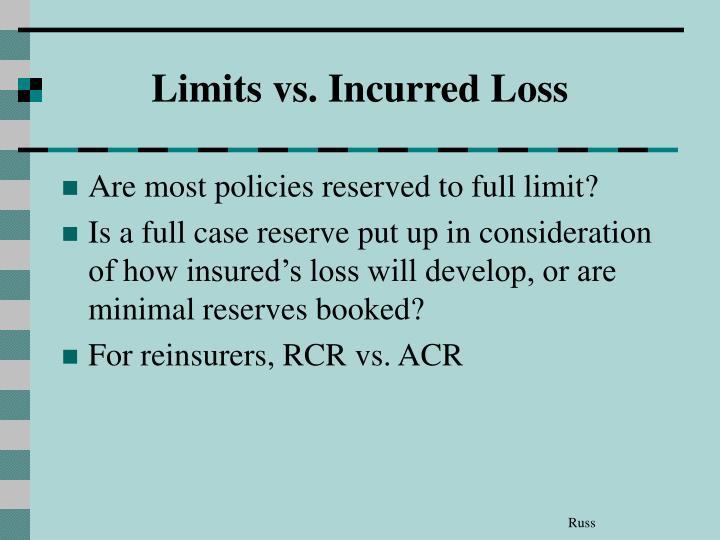 Limits vs. Incurred Loss