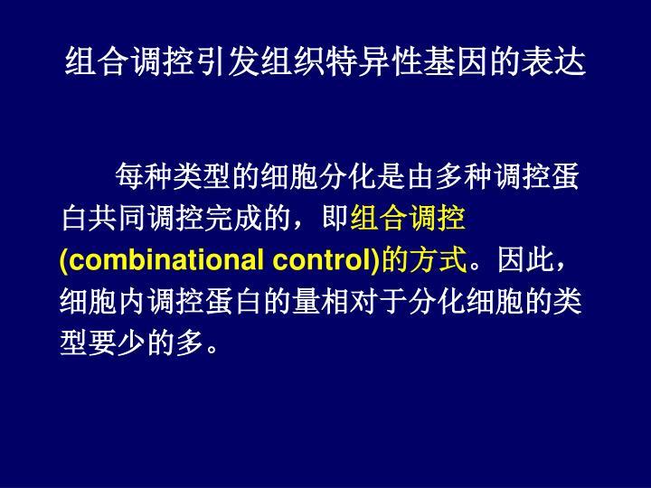 组合调控引发组织特异性基因的表达