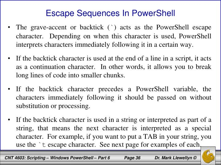Escape Sequences In PowerShell