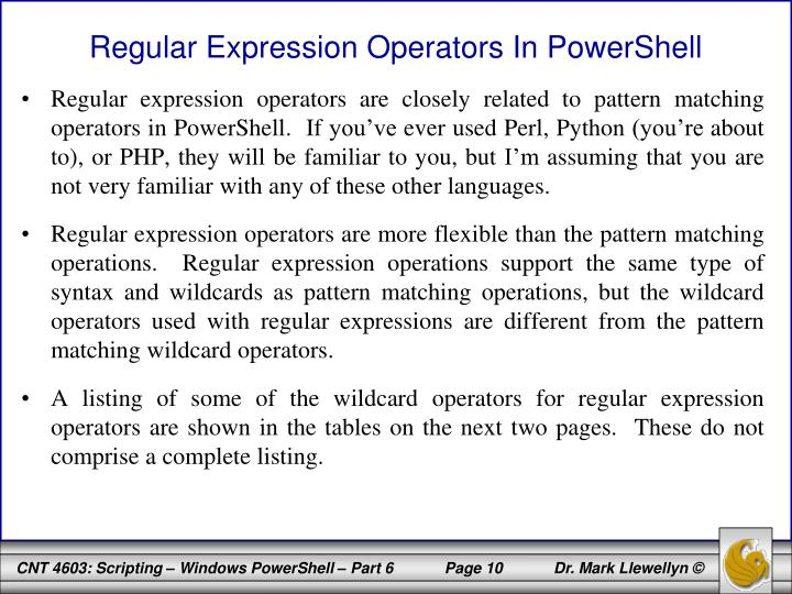 Regular Expression Operators In PowerShell
