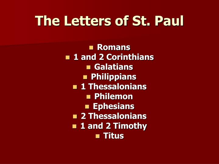 The Letters of St. Paul