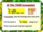 0 the task example