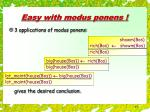 easy with modus ponens