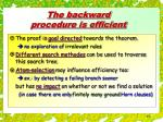 the backward procedure is efficient