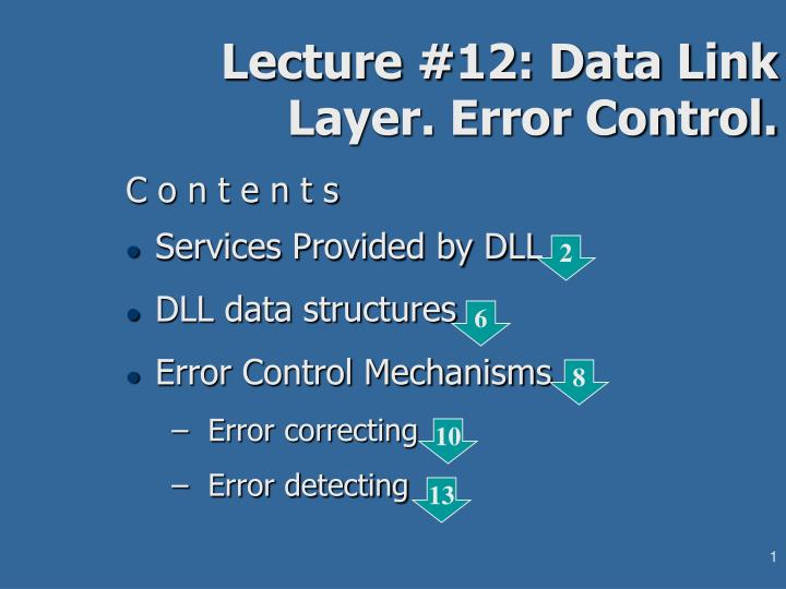 lecture 12 data link layer error control n.