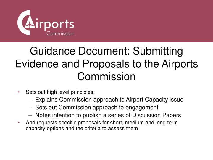 Guidance Document: Submitting Evidence and Proposals to the Airports Commission