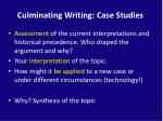 culminating writing case studies