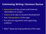 culminating writing literature review