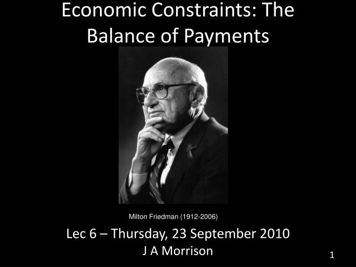 economic constraints the balance of payments n.