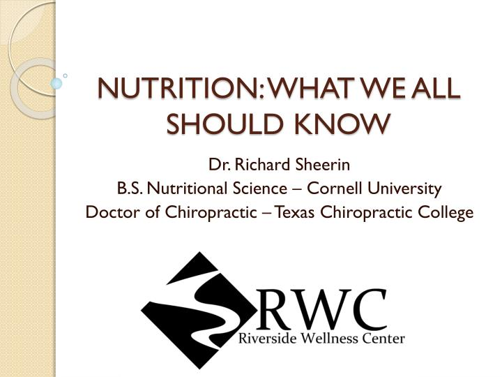 nutrition what we all should know n.