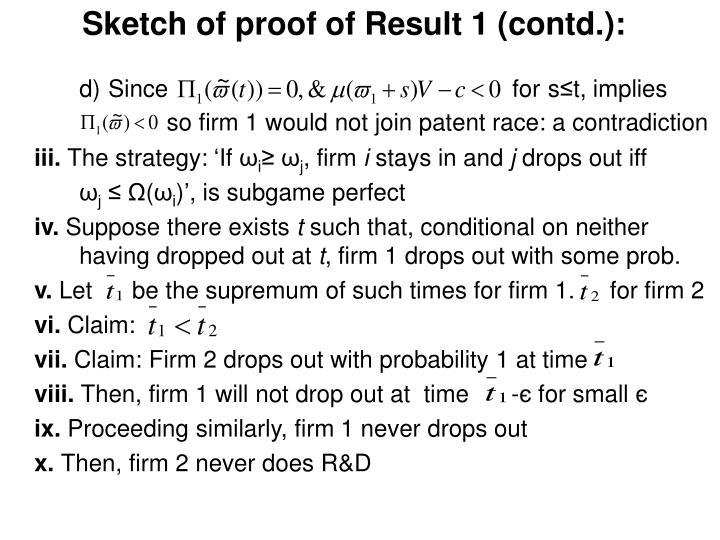 Sketch of proof of Result 1 (contd.):