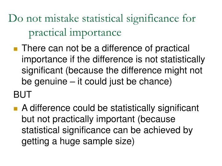 Do not mistake statistical significance for practical importance