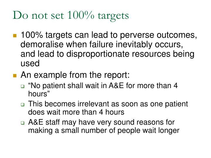 Do not set 100% targets