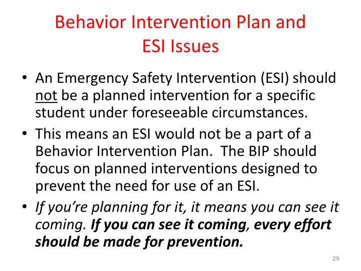 Behavior Intervention Plan and