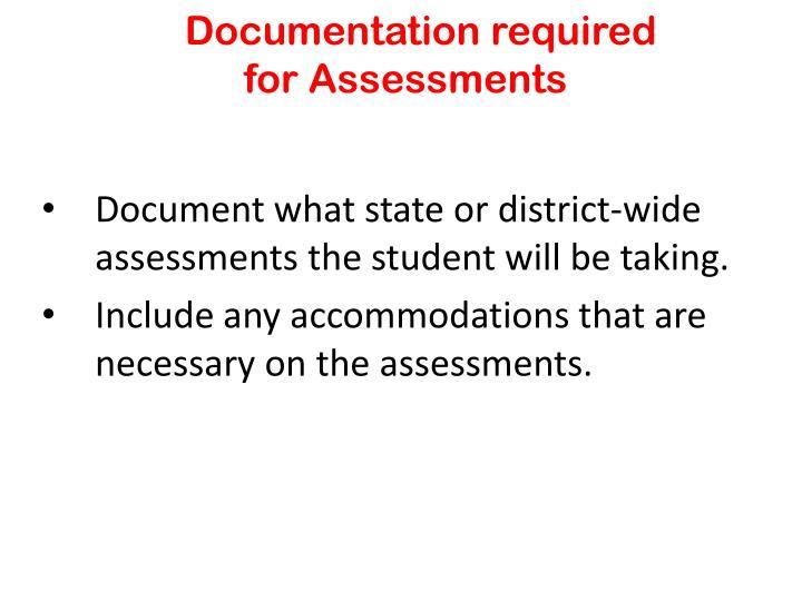 Documentation required