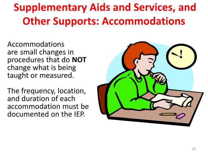Supplementary Aids and Services, and Other Supports: Accommodations