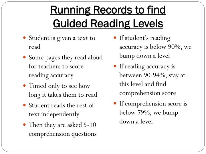 Running Records to find